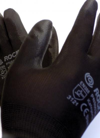 PU tenyérmártott fekete szerelőkesztyű, méret: 6-os