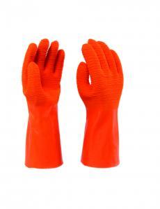 Narancssárga kétszer mártott latex kesztyű, méret: 10-es